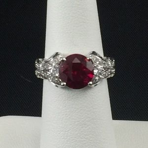 Ruby and white cubic zirconia ring, sterling